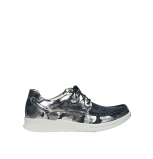 wolky lace up shoes 05901 one 14870 blue summer metallic camouflage stretch nubuck