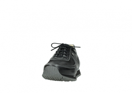 wolky lace up shoes 05803 e sneaker 20009 black stretch leather_20