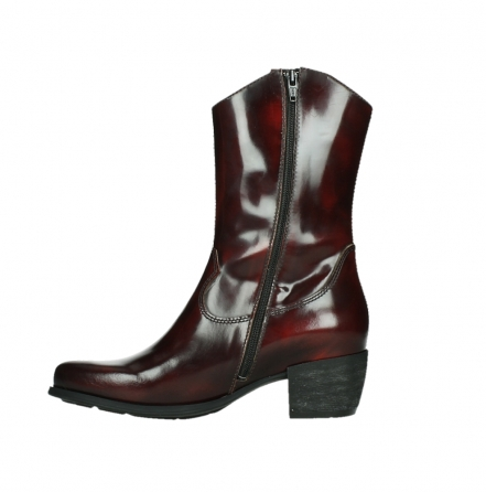 wolky mid calf boots 02876 caprock 63510 burgundy shiny leather_13