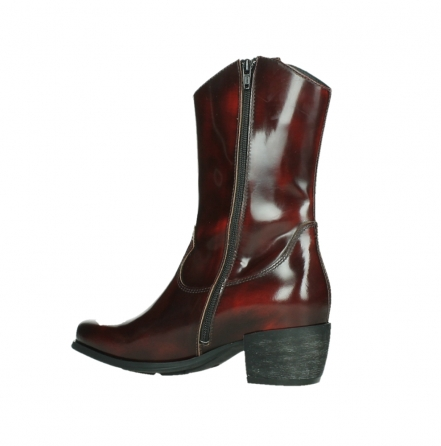 wolky mid calf boots 02876 caprock 63510 burgundy shiny leather_15