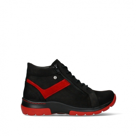 wolky lace up boots 03032 lounge 11050 black dark red nubuck