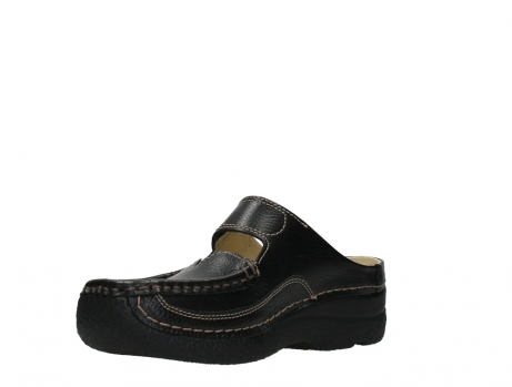 wolky slippers 06227 roll slipper 70000 black printed leather_10