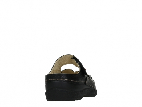 wolky slippers 06227 roll slipper 70000 black printed leather_20