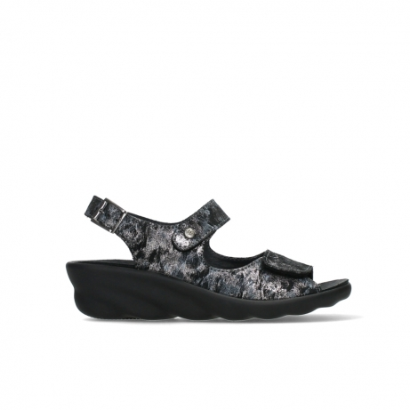 wolky sandalen 03125 scala 48000 black printed suede