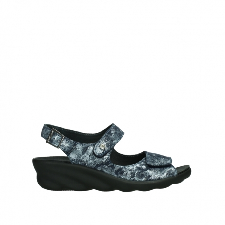 wolky sandalen 03125 scala 48800 blue printed suede