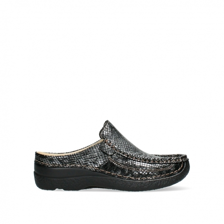 wolky slippers 06202 roll slide 92210 anthracite snakeprint leather