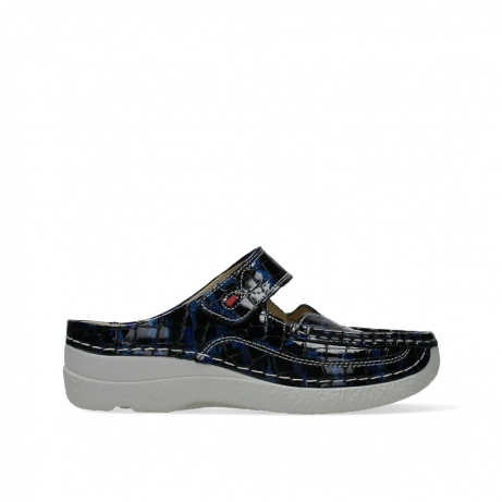 wolky slippers 06227 roll slipper 69870 blue croco print leather