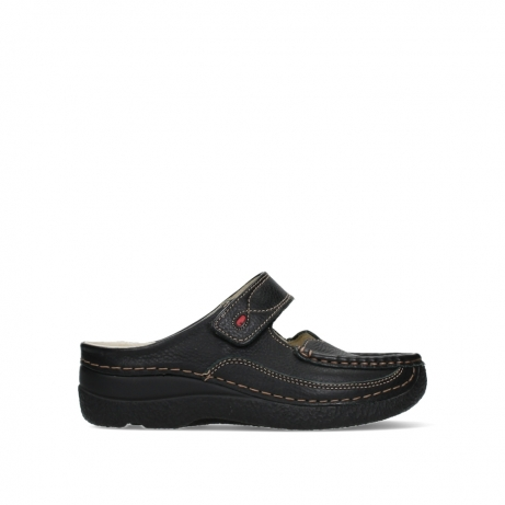 wolky slippers 06227 roll slipper 70000 black printed leather