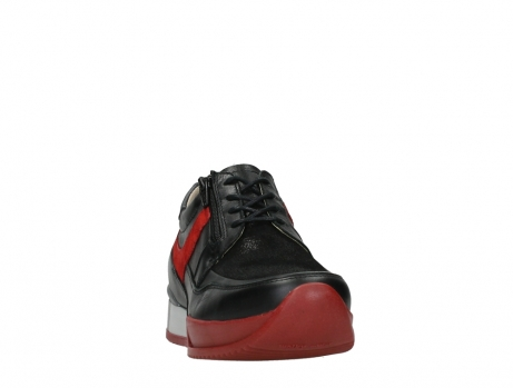 wolky lace up shoes 05880 banff 24050 black dark red stretch leather_6